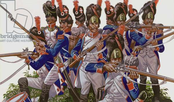 The Battle Of Jena, Grenadiers of the French Imperial Guard (gouache on paper)