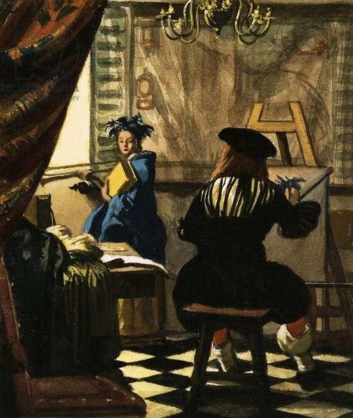 The Artist in his Studio by Jan Vermeer