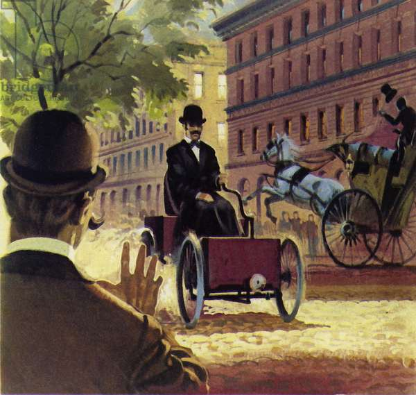 Henry Ford produced his first hand-built car in 1892 (colour litho)