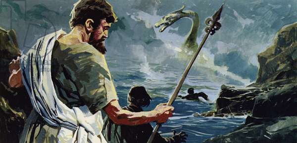 St Columba came to Loch Ness and saw a man who had been injured by a great aquatic monster (colour litho)