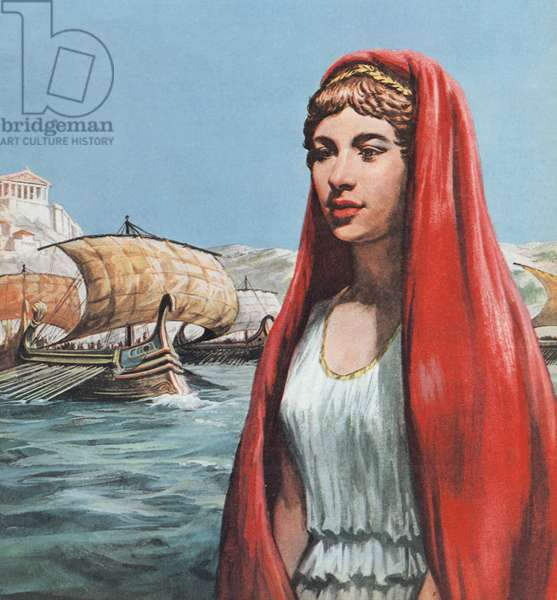 Helen Of Troy (colour litho)