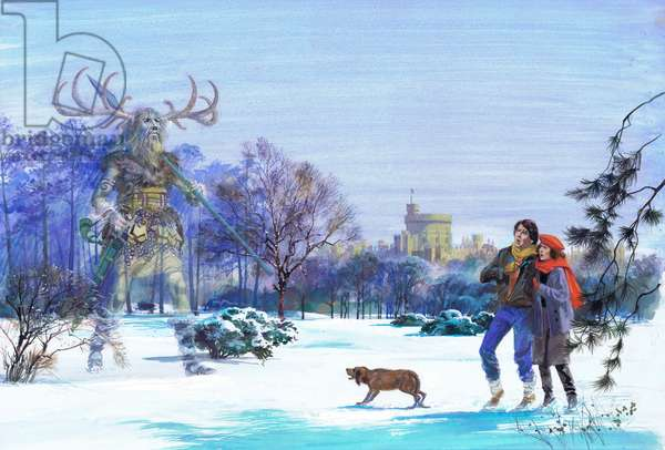 Herne the Hunter appearing in Windsor Great Park (gouache on paper)