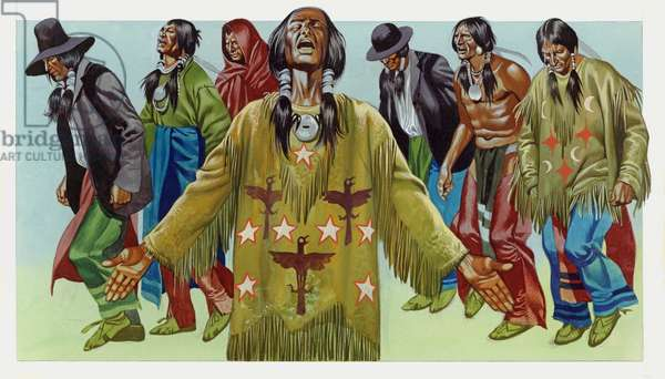 Native American Indian dance (gouache on paper)