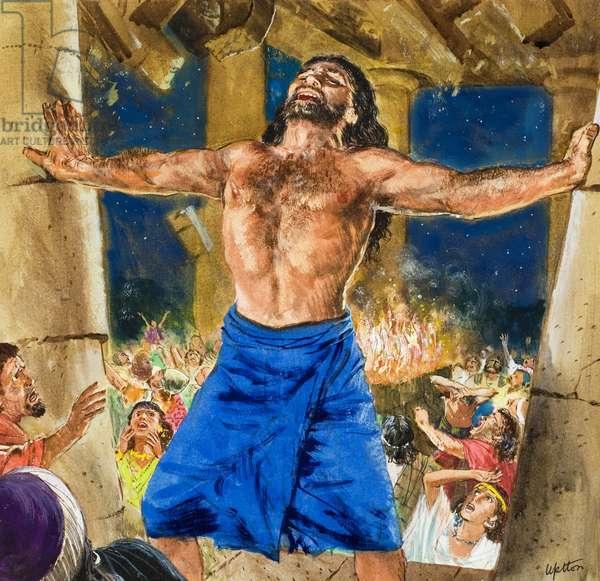 Samson's Revenge (gouache on paper)