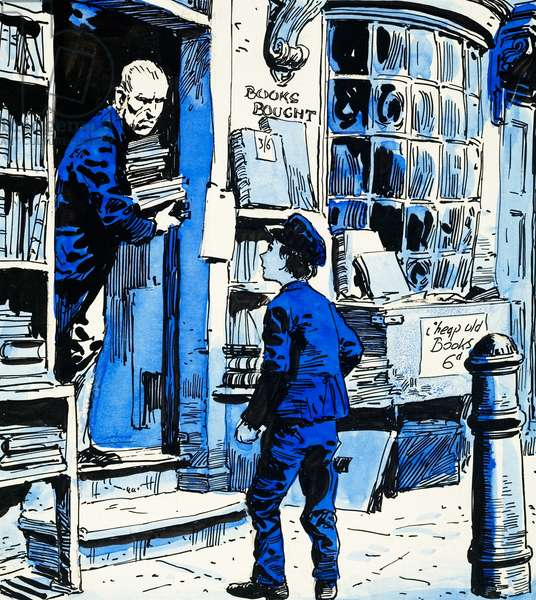 Oliver Twist at the bookshop (gouache on paper)
