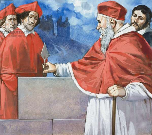 Pope Julius II (1443-1513) Laying the Cornerstone of St. Peter's in 1506 (gouache on paper)