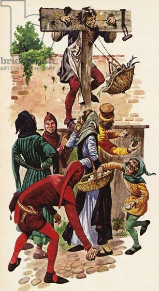 Man in pillory being pelted with rotten eggs by the villagers (colour litho)