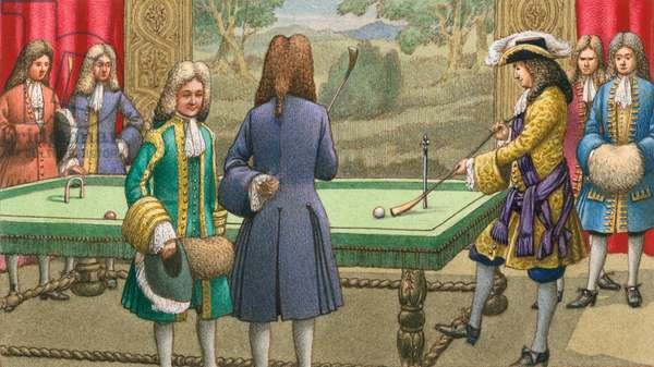 Billiards, as played by Louis XIV at Versailles (gouache on paper)