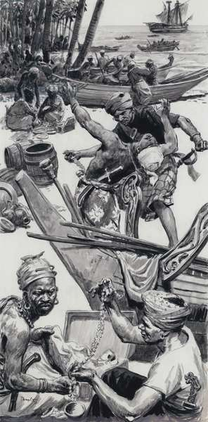 Pirates on a beach near the Malacca Straits (gouache on paper)