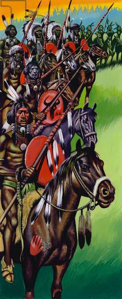 American native indians gather for war (gouache on paper)