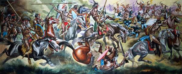 Battle between Native American Indians and Soldiers (gouache on paper)