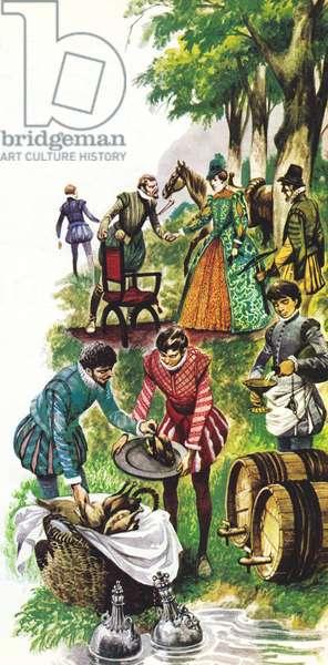 A picnic for Queen Elizabeth I (colour litho)