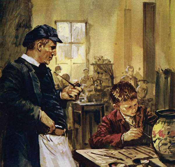 Pierre Auguste Renoir worked as a child in a china factory (colour litho)