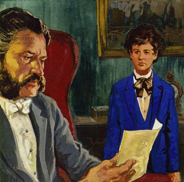 Johann Strauss the younger was born when his father struggled for recognition (colour litho)