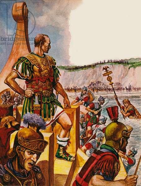 Julius Ceasar invading Britain (colour litho)