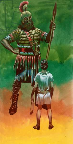 David and Goliath (gouache on paper)
