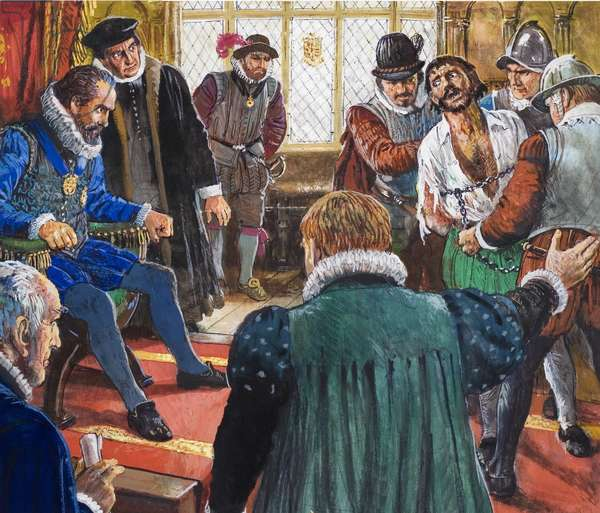 Guy Fawkes brought before King James and his Council