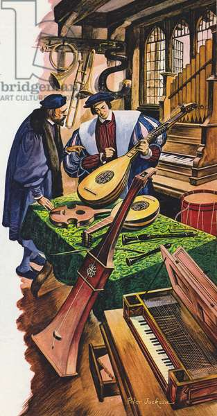 A maker of musical instruments in his shop in Tudor times (colour litho)