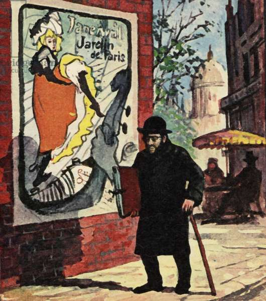 Toulouse Lautrec walking the streets of Paris (colour litho)