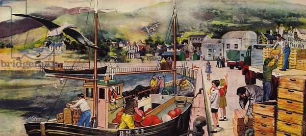 A fishing village in Scotland (colour litho)