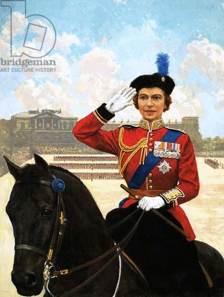 Queen Elizabeth II trooping the colour