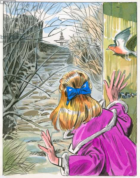 Illustration for The Secret Garden (gouache on paper)