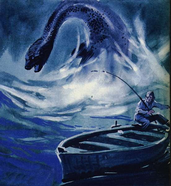 The Loch Ness Monster attacks a fisherman (colour litho)