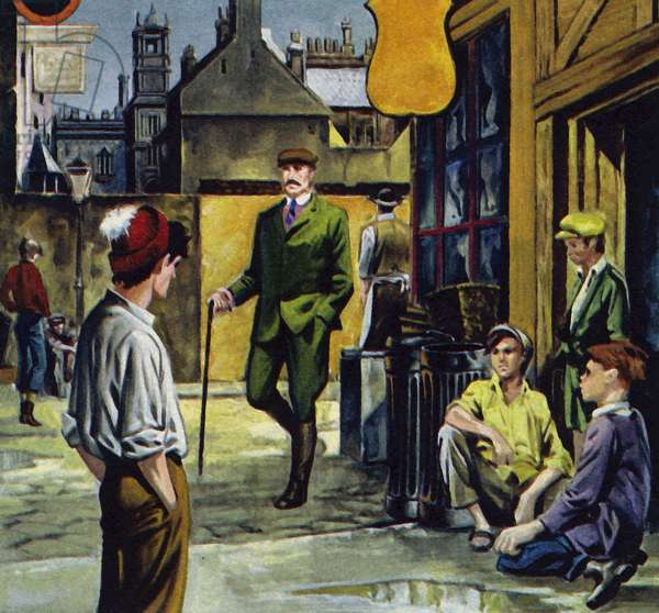 Baden-Powell was dismayed at the sight of miserable, unhealthy youths (colour litho)