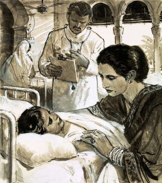 Indira Gandhi watching over a child in hospital (gouache on paper)