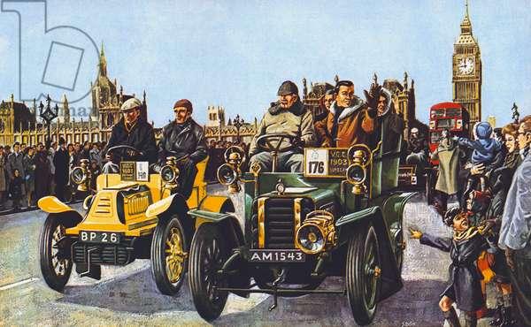 Veteran car rally (colour litho)