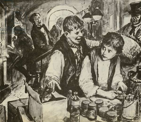 Charles Dickens as a boy in the blacking factory (litho)