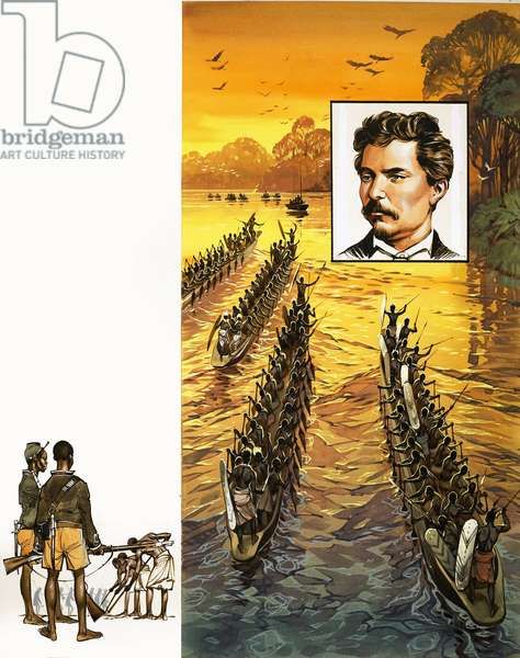 Henry Stanley, searching for Livingstone, has to face hostile tribes in war canoes