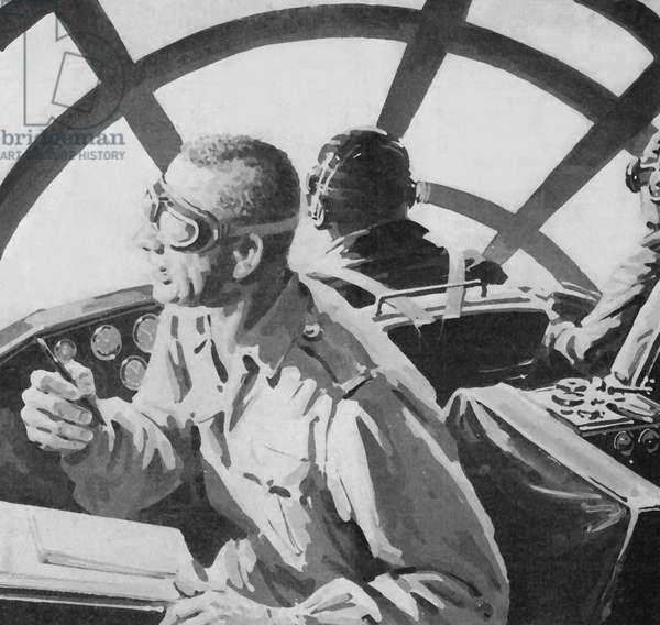 Bill Laurence witnessing the atom bomb explode on Nagasaki (litho)