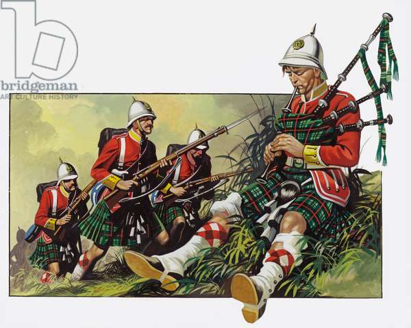 The wounded piper continued to play until the battle was won, Dargai, India, 1897 (gouache on paper)