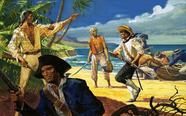 Mutineers from The Bounty land on Pitcairn Island