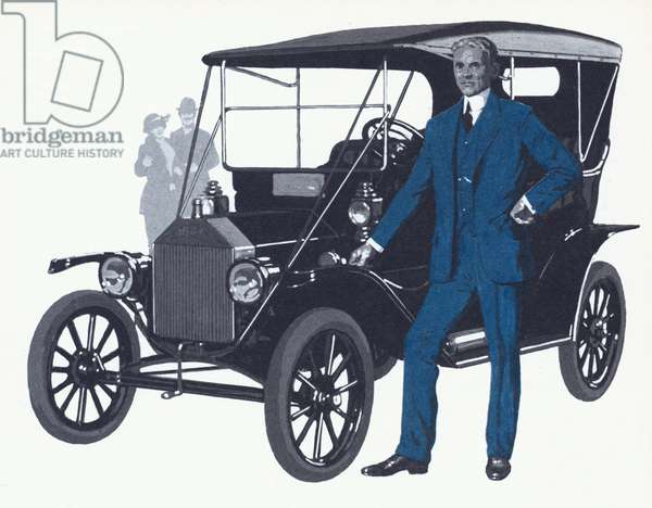 Henry Ford with the famous Model T that made the Ford name and fortune (colour litho)