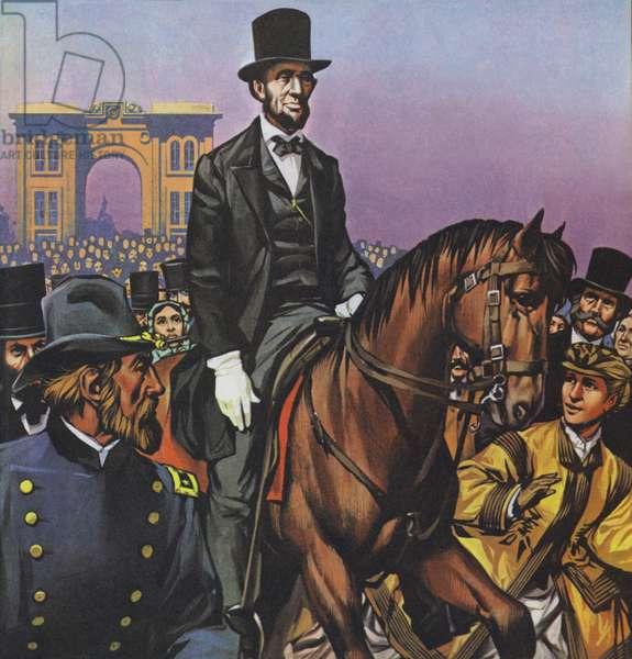 Abraham Lincoln rides into Gettysburg (colour litho)