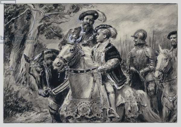The Lord Protector, the Duke Of Somerset, conveys the young King Edward VI to Windsor (gouache on paper)