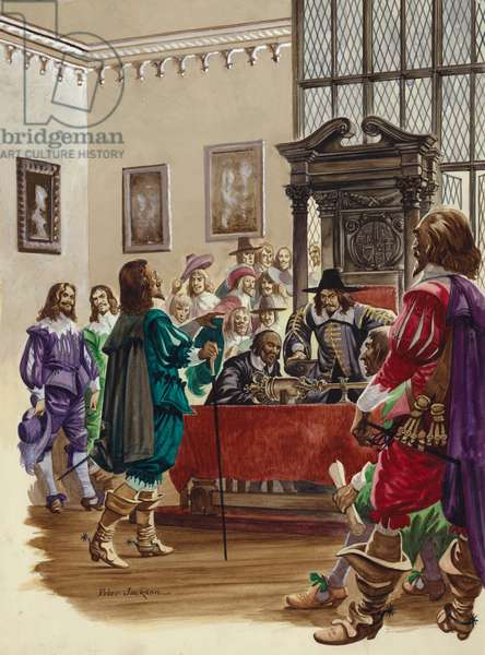 King Charles I arrives in the House of Commons to arrest the five Members of Parliament (gouache on paper)