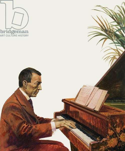 Rachmaninoff playing the piano