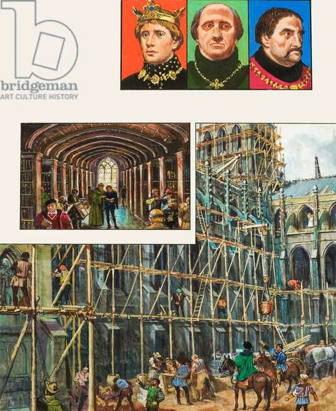 The Building of Winchester Cathedral (gouache on paper)