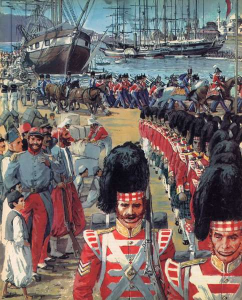 British troops arriving in Malta on the way to the Crimea (colour litho)
