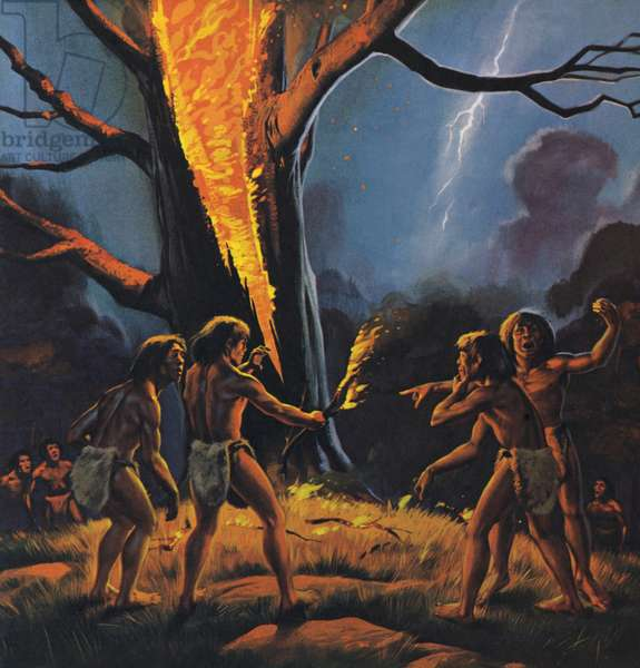 Prehistoric man and Fire (colour litho)