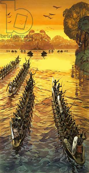 Henry Stanley, searching for Livingstone, had to face hostile tribes in war canoes