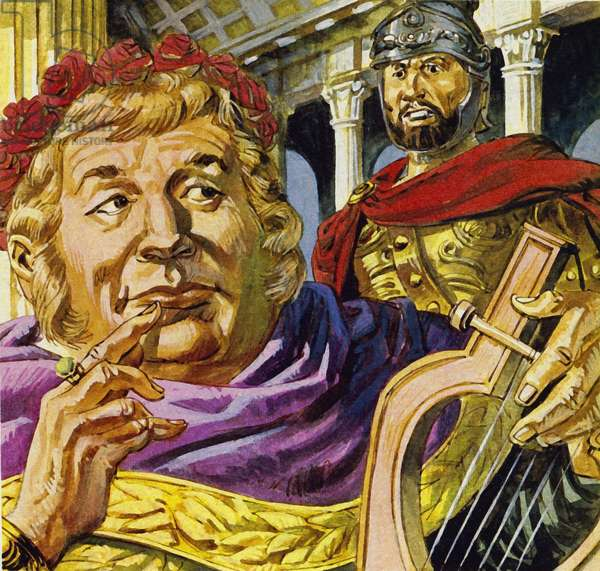 Mad emperor Nero asked Tigellinus to set fire to Rome (colour litho)