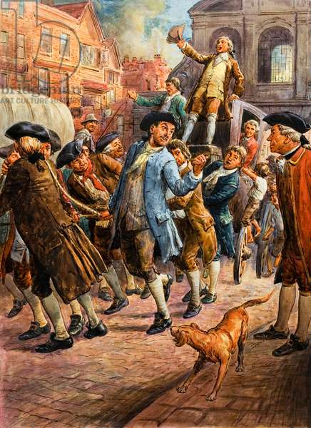 John Wilkes, seen here returning from Paris, being saved from arrest by a mob of citizens (gouache on paper)