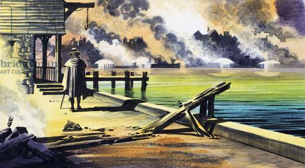 The Great Fire of London, 1966 (gouache on paper)