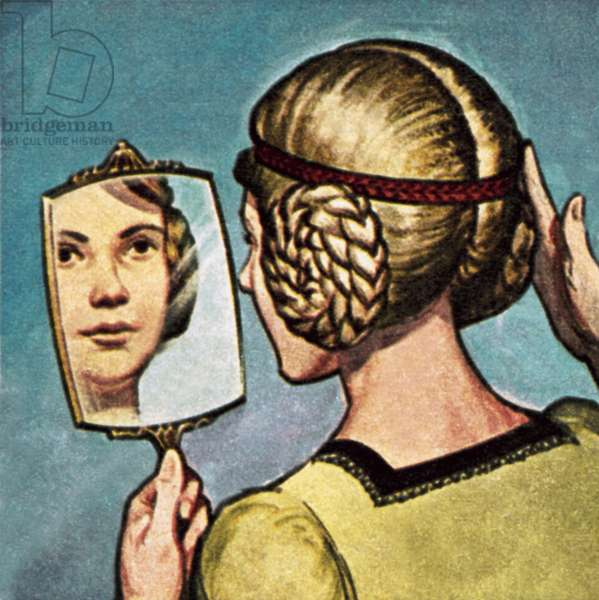 Medieval girl looking into a mirror