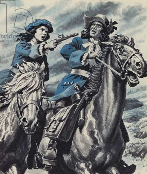 Grizel Cochrane, holding up the postman to save her father's life (colour litho)