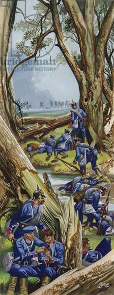The Battle Of Sadowa, 1866, the Prussians in the woods under heavy attack (gouache on paper)